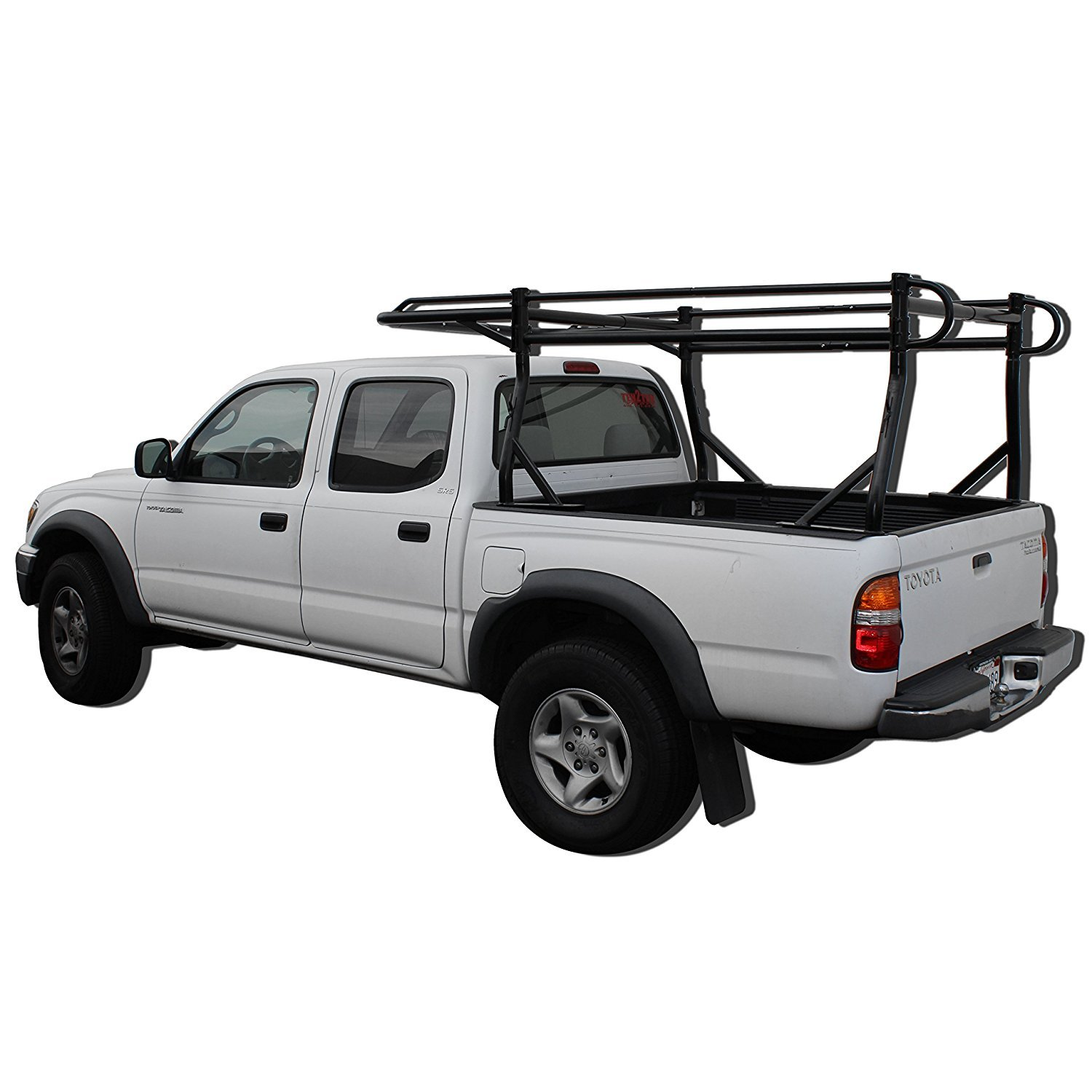 -Matte Black AA-Racks Model X38 Short Bed Truck Ladder Rack Side Bar with Short Over-cab Ext