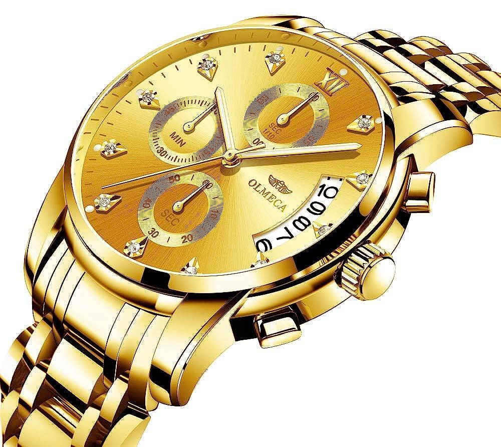 Amazon.com: OLMECA Brand Mens Watches Clock Relogio Masculino 3ATM Waterproof Watches Chronograph Wristwatch Reloj Hombre Golden Tone New: Watches