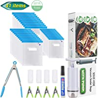 Aufisi Sous Vide Bags, 30 Packs Reusable Vacuum Food Storage Kit for Sous Vide Cooking,3 Sizes Sous Vide Bag with 1 Hand Pump,1 Kitchen Tong,1 Marker,4 Zipper Clips,4 Sealing Clips,BPA-Free