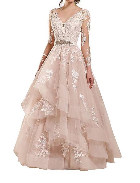 Lianai Women\'s Ruffles Applique Lace Wedding Dress Long Sleeve ...