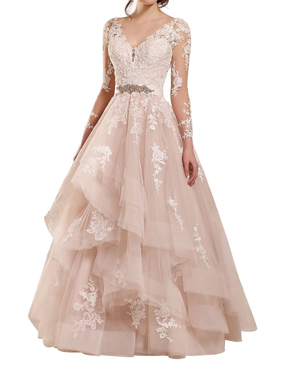 Fanciest Women's Double V Neck Lace Wedding Dresses Long Sleeves Ruffles Bridal Gowns Blush US20W
