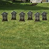 "Fake Tombstones - Halloween Yard Decoration - Set/6, 21.3"" x 14.8"""