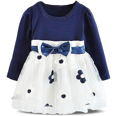 a0c0f334ec34 Amazon.com  NNJXD Infant Baby Girls Long Sleeve Cotton Flower Dress ...