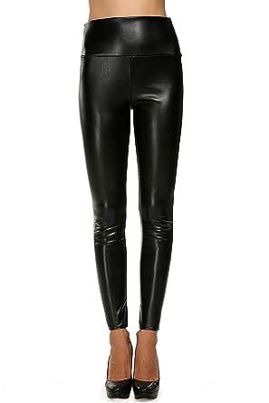 6f9c22f7e66 wearella Women s Highly Elastic Slim Faux Leather Pencil Pants Skinny  Leggings Black S