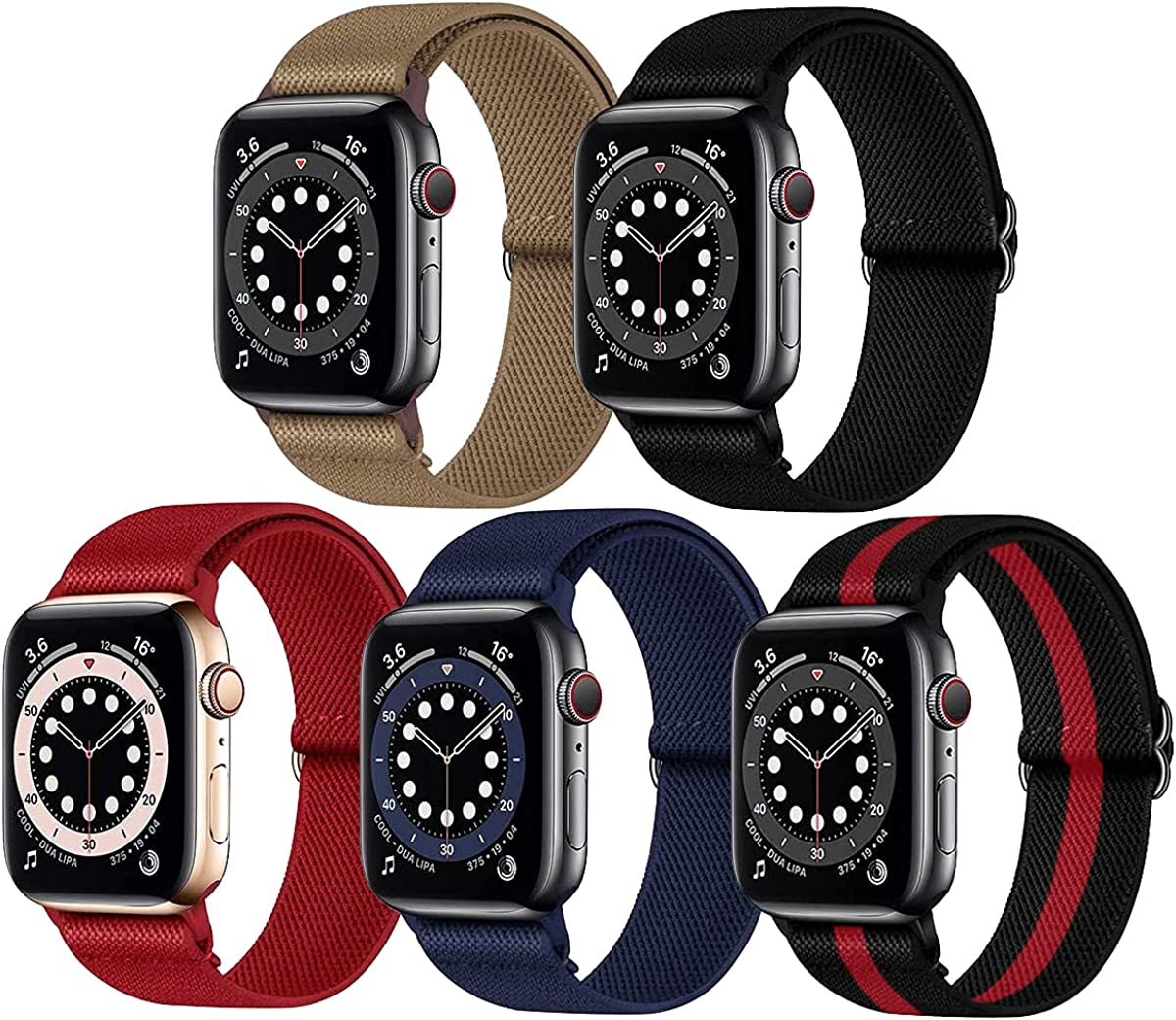 Stretchy Nylon Solo Loop Bands Compatible with Apple Watch 38mm 40mm 42mm 44mm, [5Pack]-Women Men Adjustable Stretch Braided Sport Elastics Strap Compatible with iWatch Series 6/5/4/3/2/1 SE