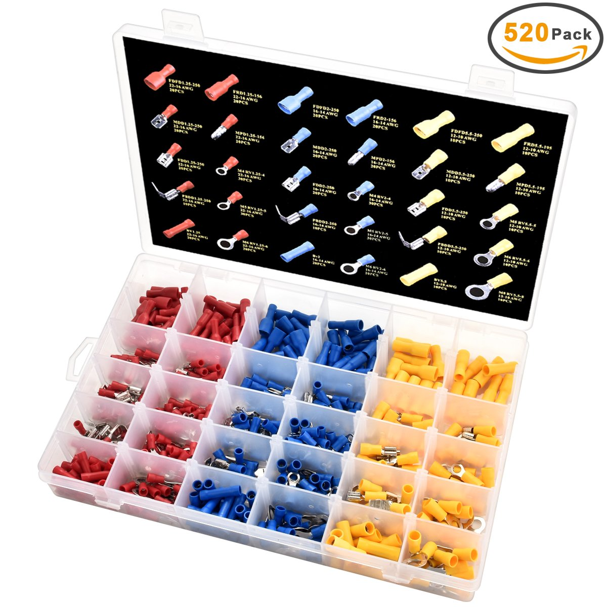 520Pcs Insulated Wiring Crimp Terminals - SanGlory Wire Terminals Ends Electrical Wire Connectors Crimp Terminals Kits Automotive Terminals Set Fork Ring Butt Spade Case Set