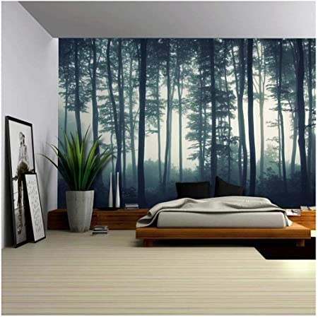 Wall26 Landscape Mural Of A Misty Forest Wall Mural Removable Sticker Home Decor 100x144 Inches Amazon Com