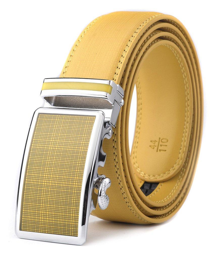 XHtang Men's Ratchet Belt Automatic Buckle Leather Belt 35mm Wide (Waist:30-43, White) 123 PK_1193-White