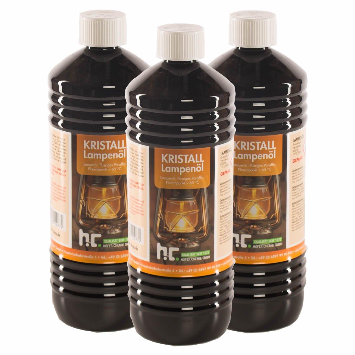 6 x 1 L huile de paraffine pour lampe inodore incolore - FRAIS DE PORT OFFERT - en bouteilles de 1 L Höfer Chemie ®