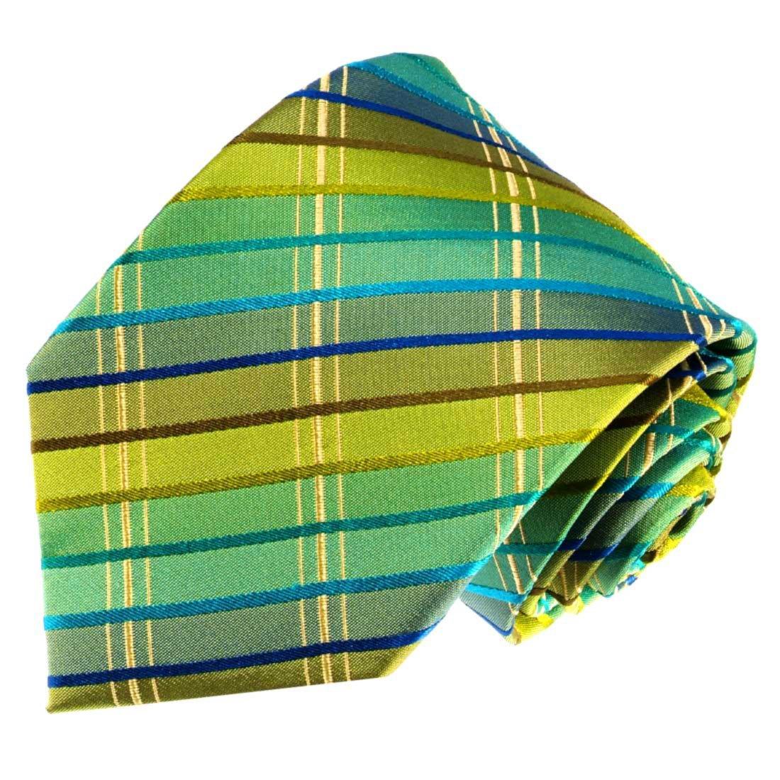 Lorenzo Cana - Exklusive Designer Krawatte aus 100% Seide - Seidenkrawatte grün türkis blau gold kariert Karos - 77106