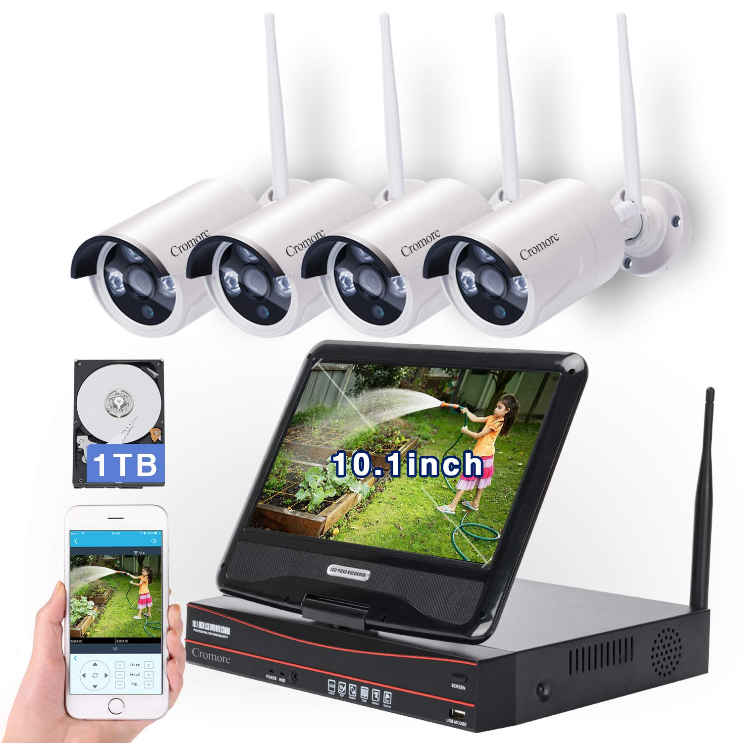 8CH,Expandable All in one with 10.1 inches Monitor Wireless Security Camera System, Home Business CCTV Surveillance 8CH 1080P NVR Kit, 4pcs 2MP 1080P Outdoor Night Vision IP Camera, 1TB Hard Drive