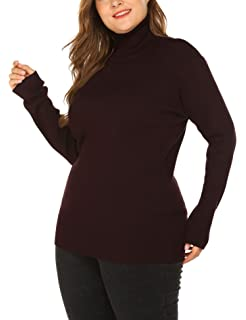 eb166b9b918 IN VOLAND Women s Plus Size Turtleneck Lightweight Long Sleeve Top Rib Knit  Pullover Sweater