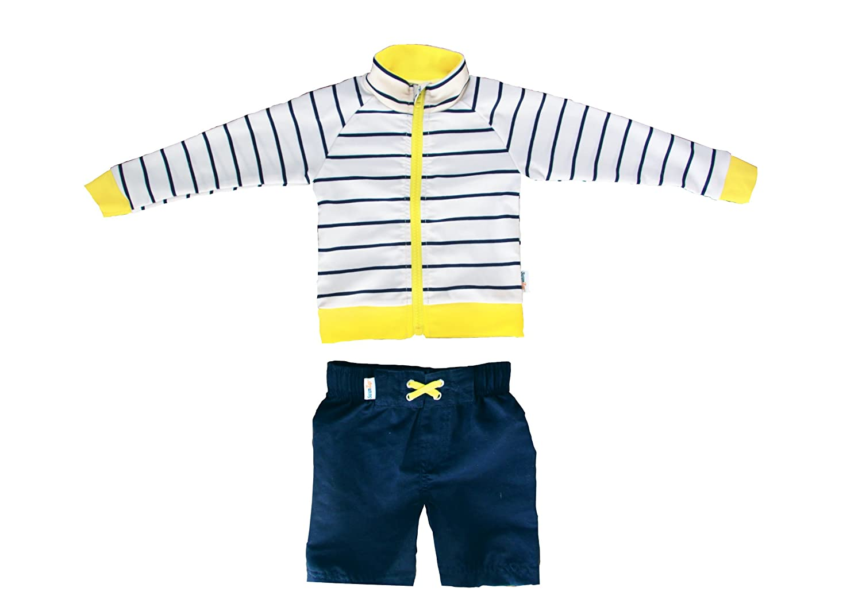 SwimZip Little Boy Long Sleeve Zipper UV Protective Rash Guard Set SZ363