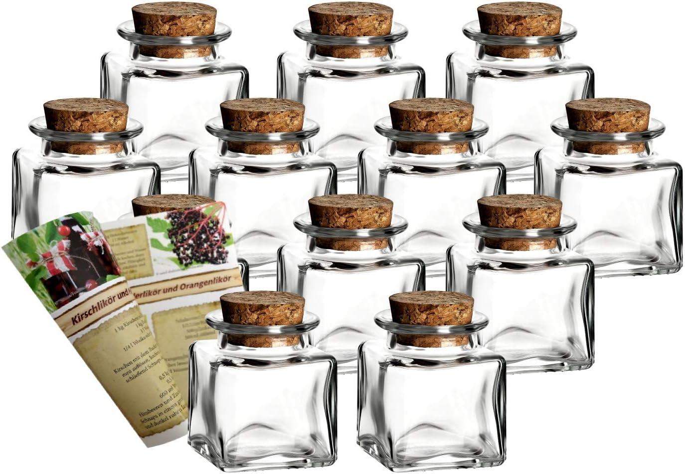 gouveo 12Vasos de Kleine Corcho Mini 50Incl. Corcho y 28de seitige Botella Discount de Recetas folleto para Regalos, Especias, Bote de Cristal (, Recipiente de Cristal, Corcho Cristal Rectangular