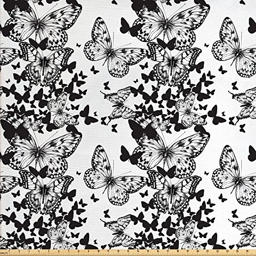 Black and White Fabric by the Yard by Ambesonne, Starry Night Drifter Butterfly Silhouettes Monochrome Sketch Style Fauna, Decorative Fabric for Upholstery and Home Accents, Black - Style Drifter