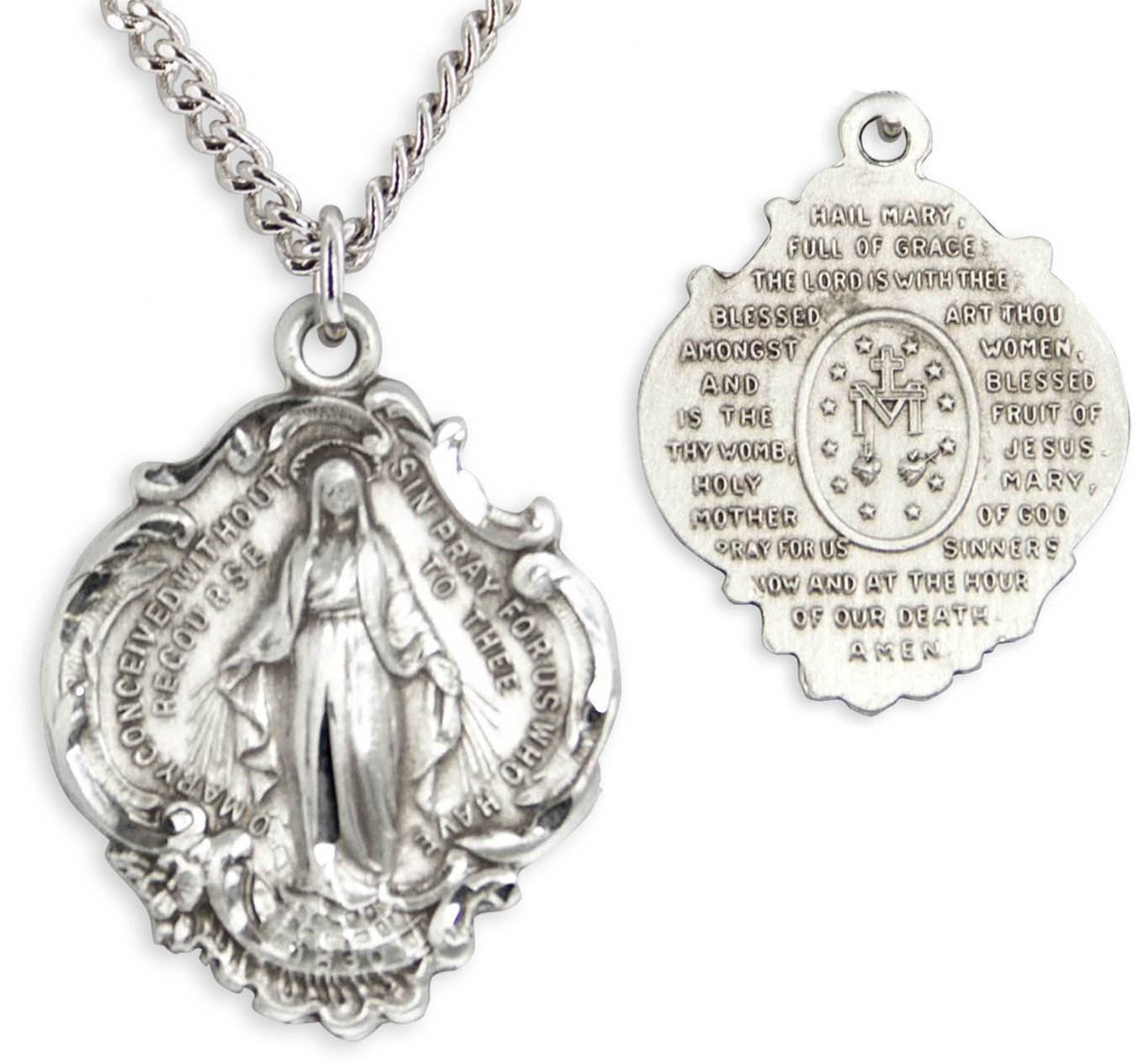 Hail Mary Prayer Sterling Silver Pendant + 24 Inch Sterling Silver Chain with Clasp by Heartland Store (Image #3)