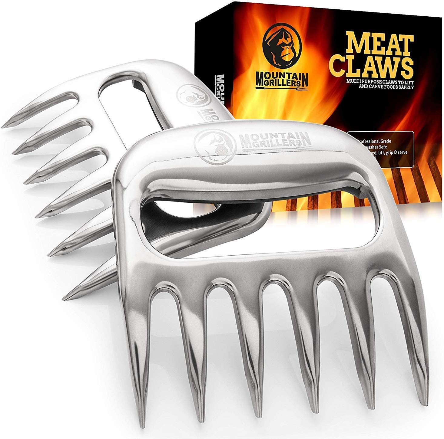 Beef M BBQ Grill Fixget 2 Pieces Stainless Steel Pulled Claws Bear Paws Shredder Claws with Wooden Handle Meat Forks Bear Paw Meat Claws with Wooden Handle for Pork Silver Chicken