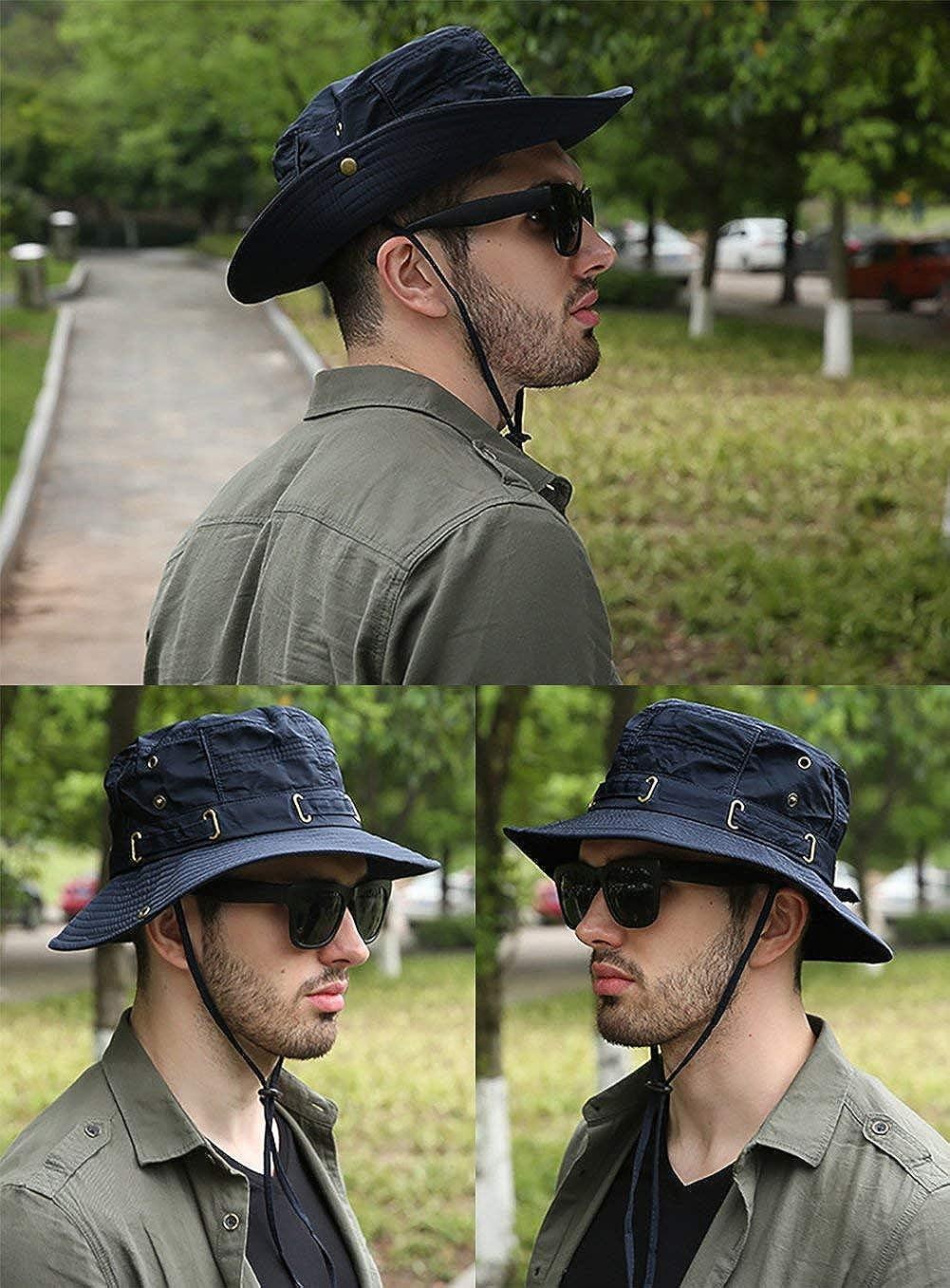 UV Protection Wide Brim Cap Water Resistant Safari Hat for Men Women Blue Summer Sun Hat Fishing Hat UPF 50