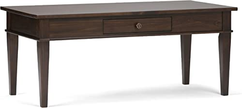 Simpli Home 3AXCCRL-01 Carlton Solid Wood 44 inch Wide Rectangle Contemporary Coffee Table in Dark Tobacco Brown