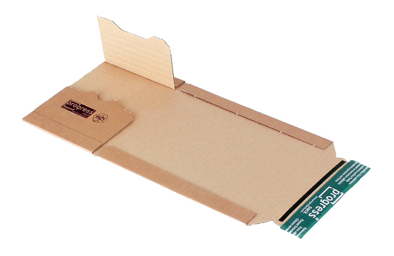 progressPACK Premium PP B02.01 - Sobre universal para CD (papel ondulado, 147 x 129 x hasta 55 mm, 20 unidades), color marrón