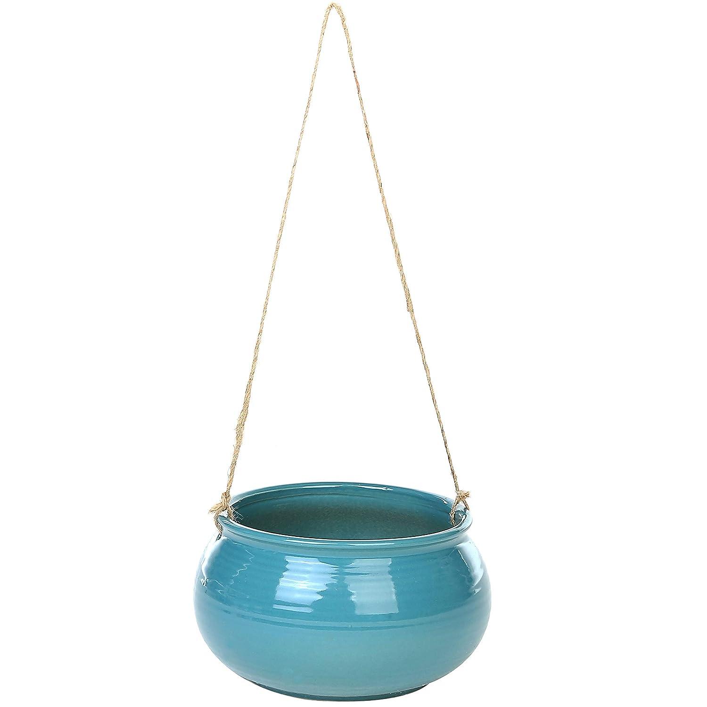 Style m/éditerran/éen rond Cerulean Succulente torsad/ée Pot de pot de fleurs /à suspendre avec ficelle de jute Corde