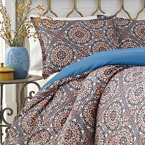 5pc Navy Blue Red Tan Bohemian Intricate Theme Comforter Full Queen Set, Geometric Line Flower Scroll Themed Pattern, Boho Chic Floral Bedding, (Floral Tan Scroll)
