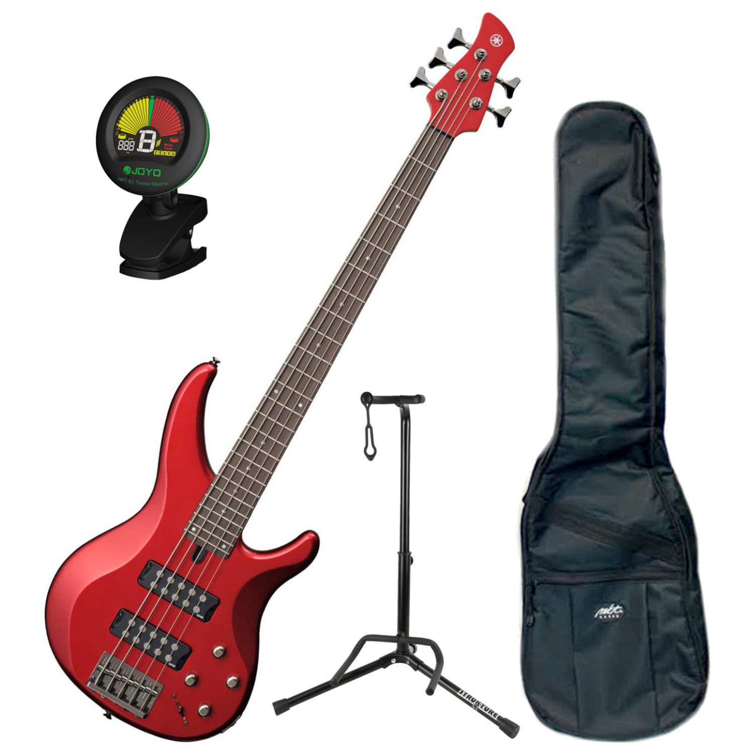 Yamaha TRBX305 CAR TRBX-305 Candy Apple Red 5 String Bass Guitar w/ Gig Bag, Stand, and Tuner