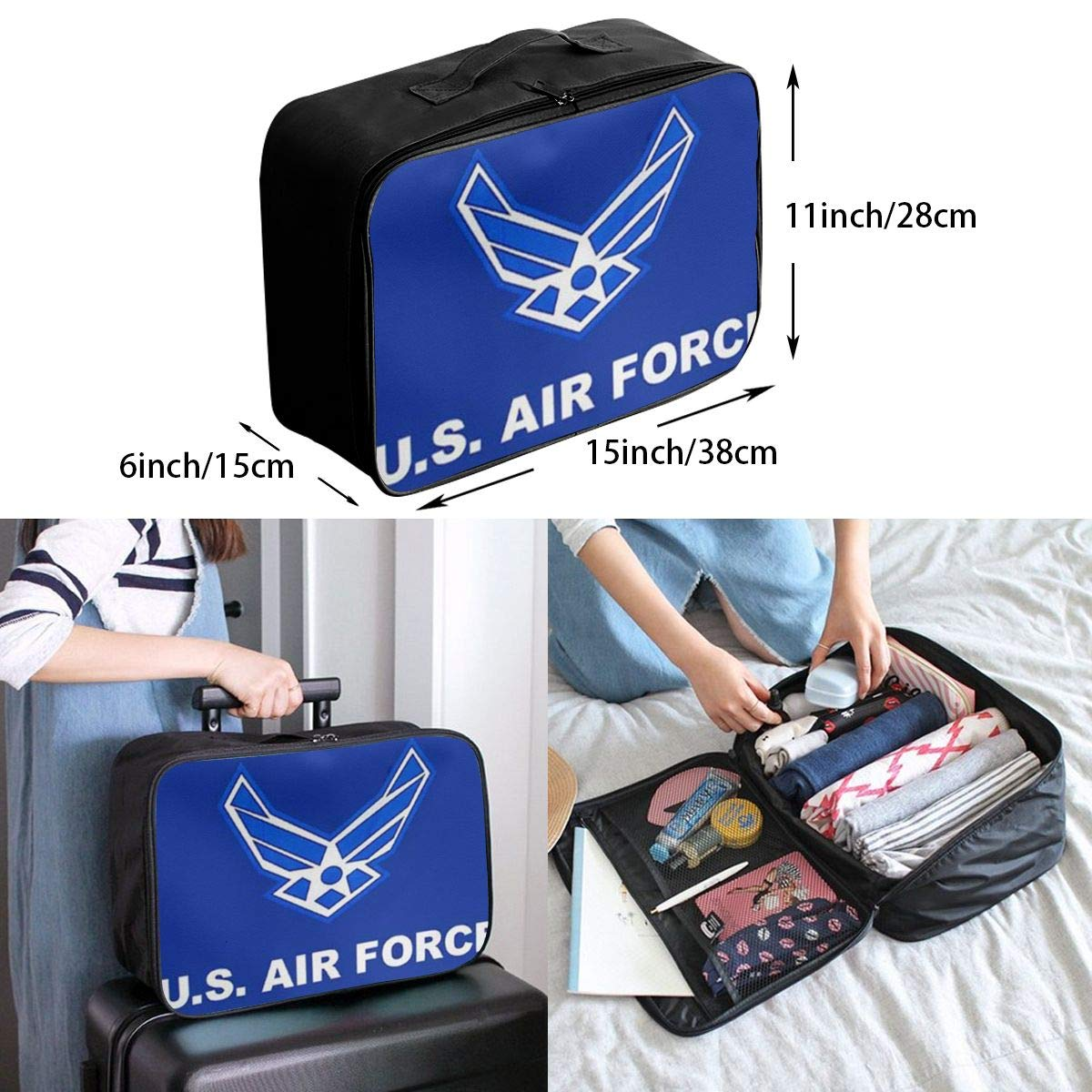 ADGAI Air Force Military Flag Canvas Travel Weekender Bag,Fashion Custom Lightweight Large Capacity Portable Luggage Bag,Suitcase Trolley Bag