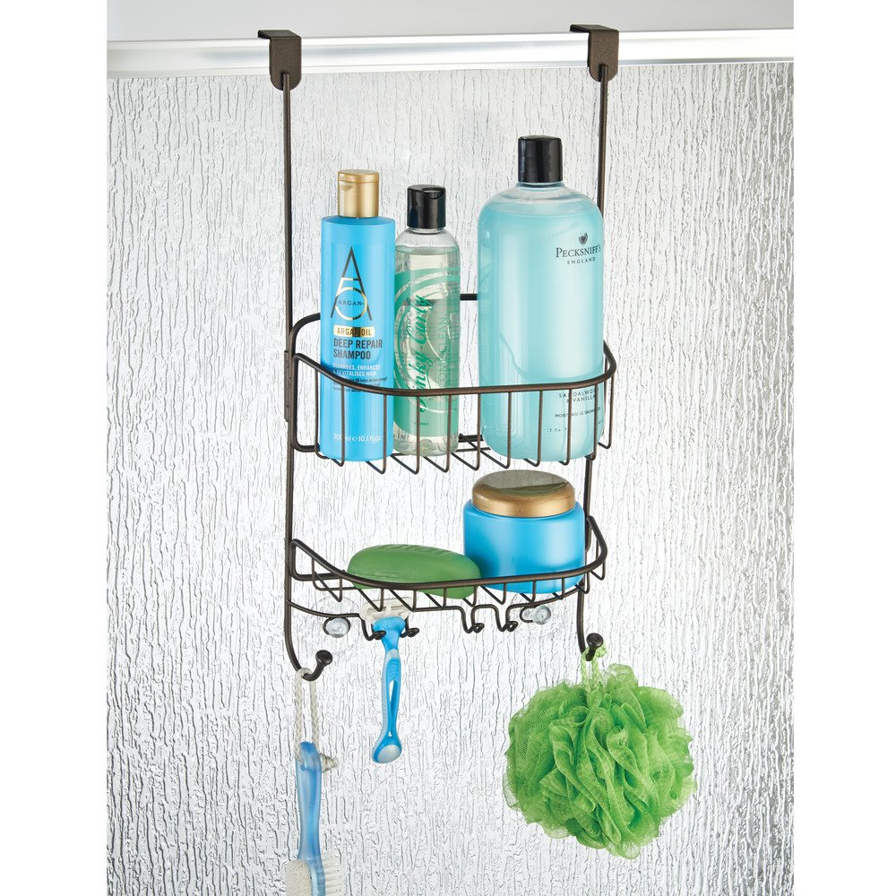 Amazon.com: mDesign Bathroom Over Door Shower Caddy for Shampoo ...