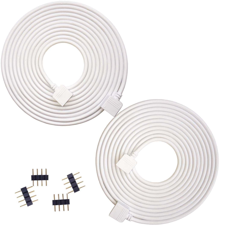 HooyaStark 2x 3m RGB5050 2835 3528 Câble de connecteur de lumière de bande de 4 pin à LED, câble d'extension de lumière de bande de 4 pinces LED, connecteur d'extension de décoration de 4color RGB LED, aucune soudure