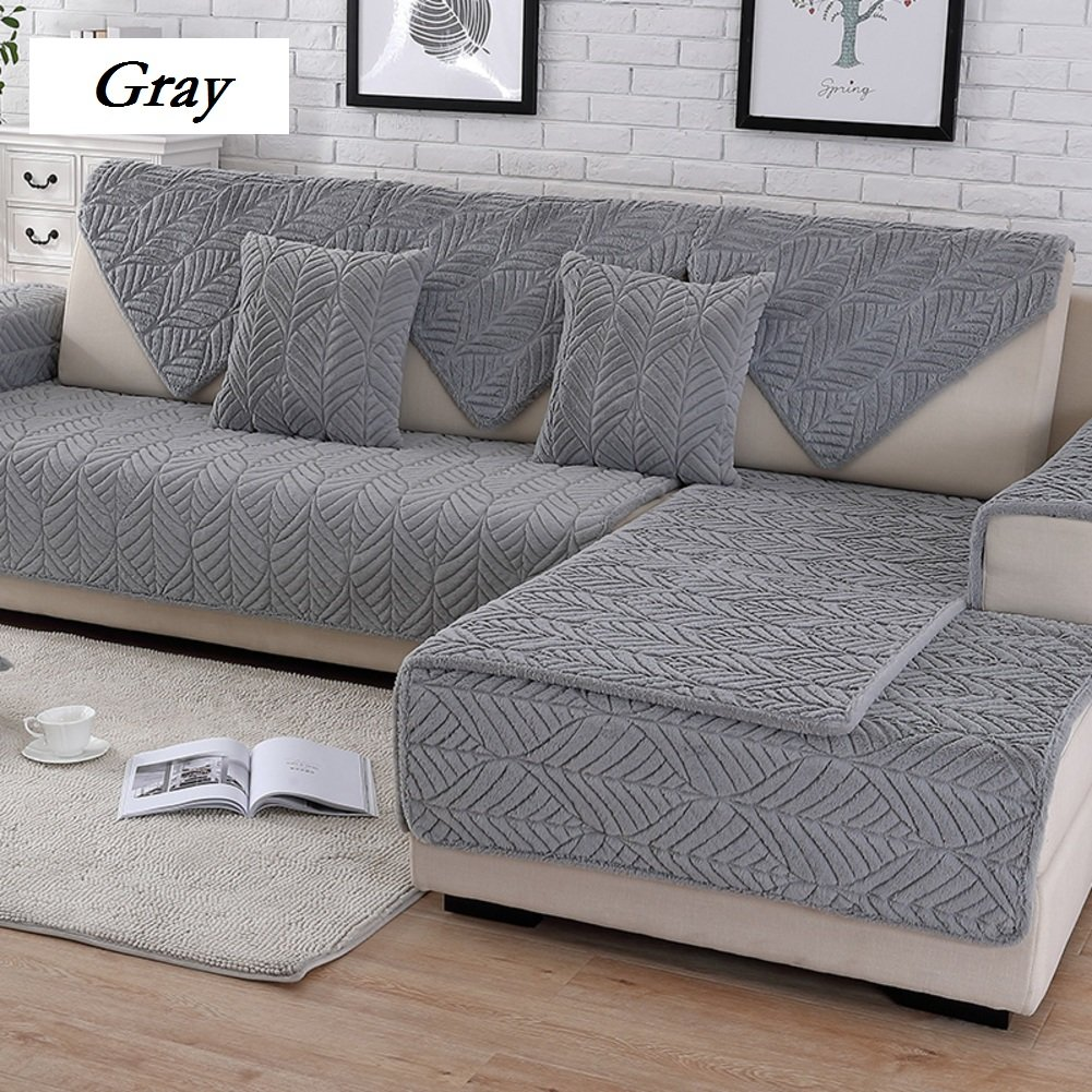 DW&HX Soft suede Strapless Heavyweight Sofa slipcover Furniture protector,Perfect for pets and kids 3 seats Non-slip Quilted sofa protector -D 43x94inch(110x240cm)