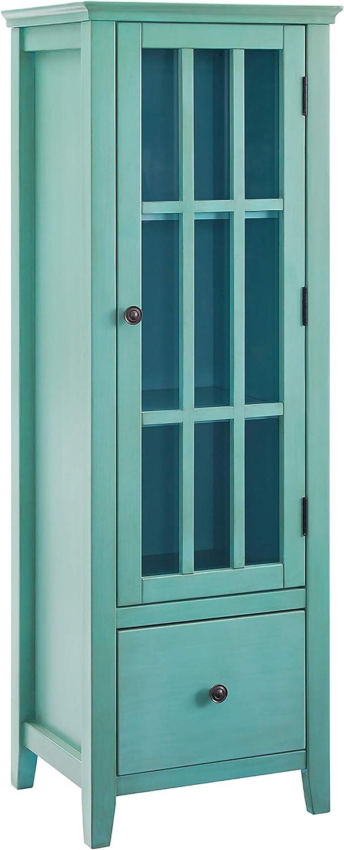 Linon Home Décor LG118TRQ01U Largo Antique Turquoise Glass Door Cabinet