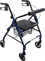 "Roscoe Medical ROS-RL10040A-BL Wheel Rollator/Rolling Walker with Padded Seat, 6"", Blue"