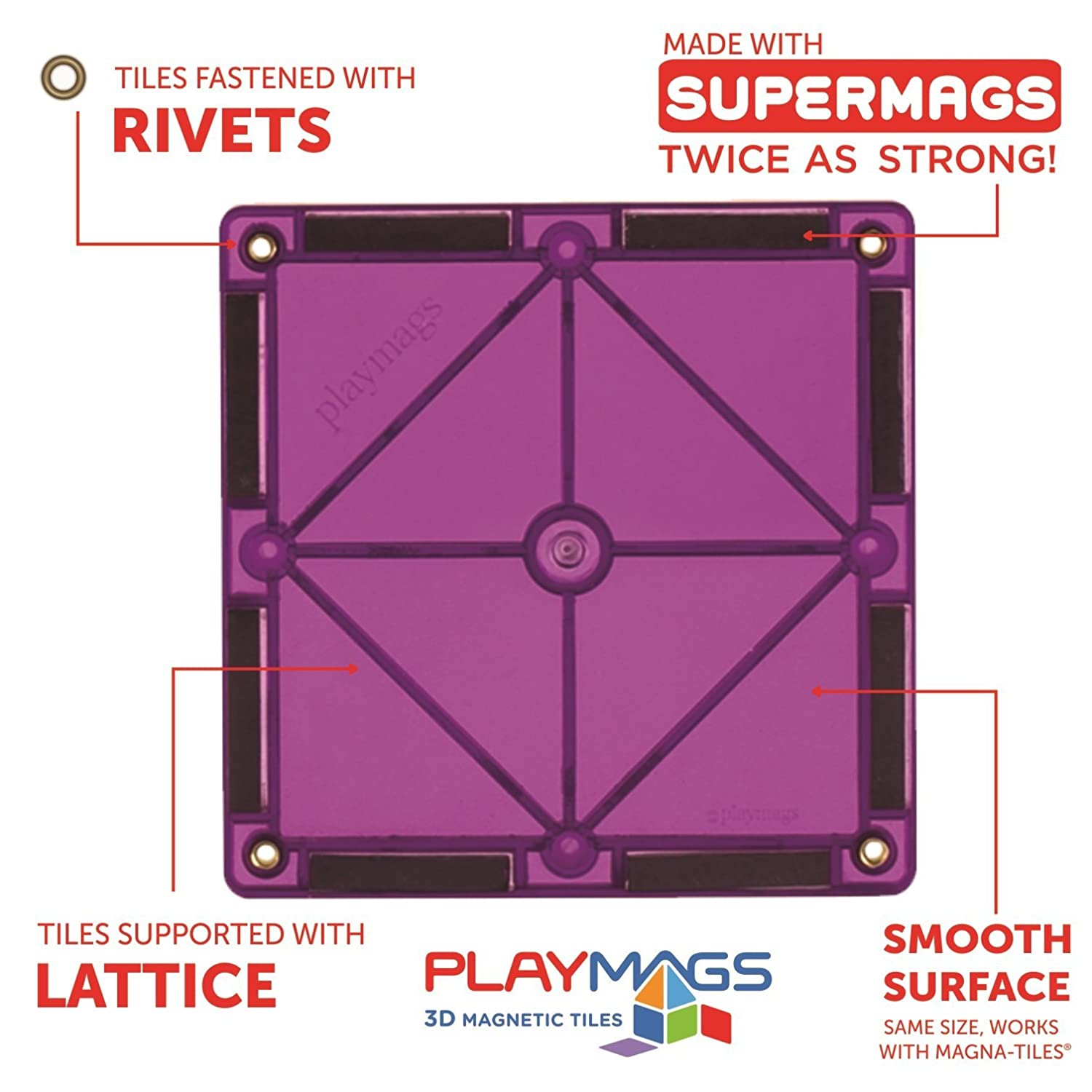 Playmags 100 Piece Super Set: With Strongest Magnets Guaranteed ...