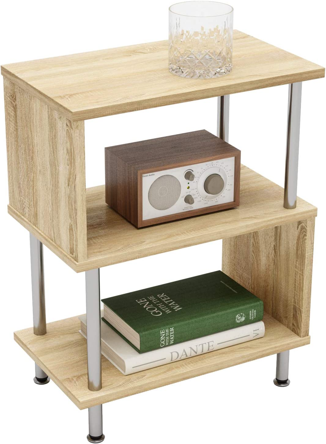 Amazon Com Bestier Side Table 3 Tier S Shaped Small Nightstand Bedside Table End Table With Storage Shelves For Bedroom Sofa Table Coffee Table Modern Design Easy Assemble And Sturdy Kitchen Dining