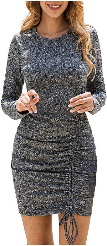 Elegancka damska sukienka z okrągłym dekoltem, z długim rękawem, w czystym kolorze, minisukienka francuska, elegancka sukienka wieczorowa: Odzież