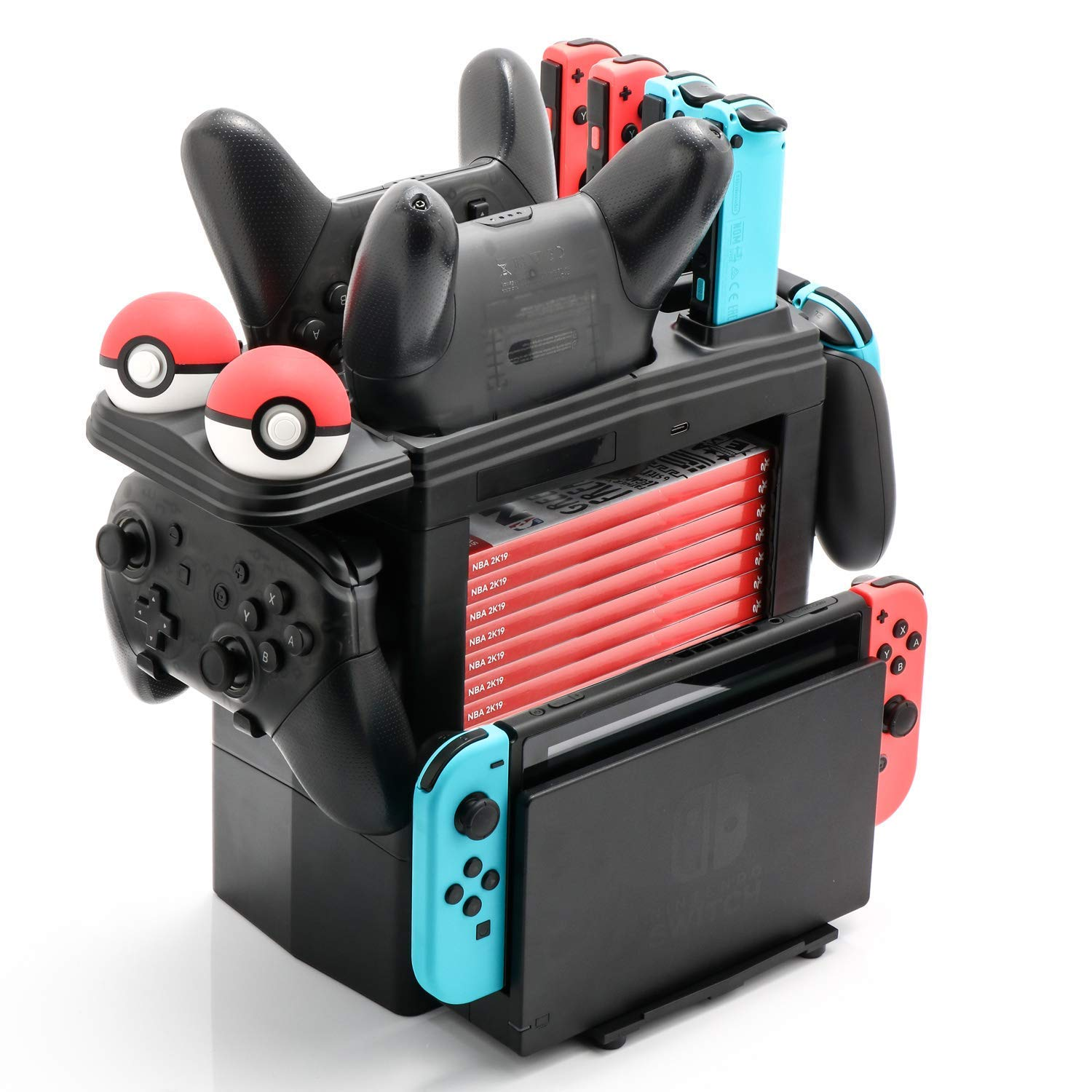 Skywin Charging Tower for Nintendo Switch Compatible with Nintendo Switch Accessories - Charge Display and Organize Joy-Cons Pro Controllers Charging Grip Poke Balls Game Boxes Game Cards Switch Dock by Skywin