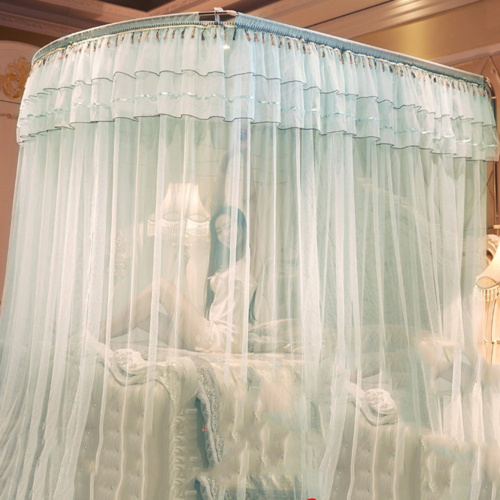 U-shaped telescopic mosquito net, Floor stand Princess Double Home Bed canopy-C Queen1