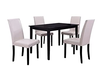 Best Master Furniture WA1200 Melisa Dining Set With Cream Color Chair (5  Piece)