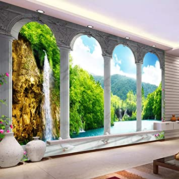 Amazon Com Hwhz Custom Photo Wall Painting 3d Space Waterfall