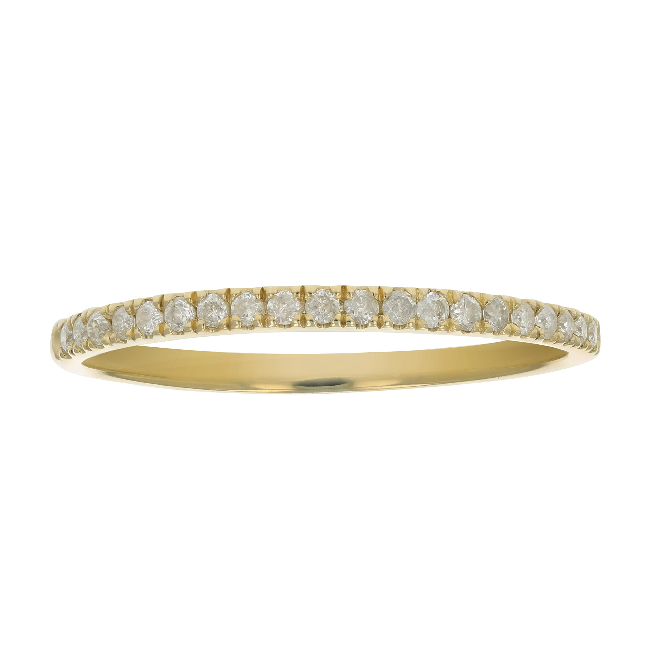 1/6 ctw Micropave Diamond Wedding Band in 10K Yellow Gold In Size 7