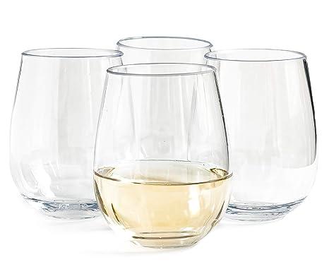 cab682a8914 Vinjoy Unbreakable Stemless Plastic Wine Glasses 16 ounces (Set of 4)