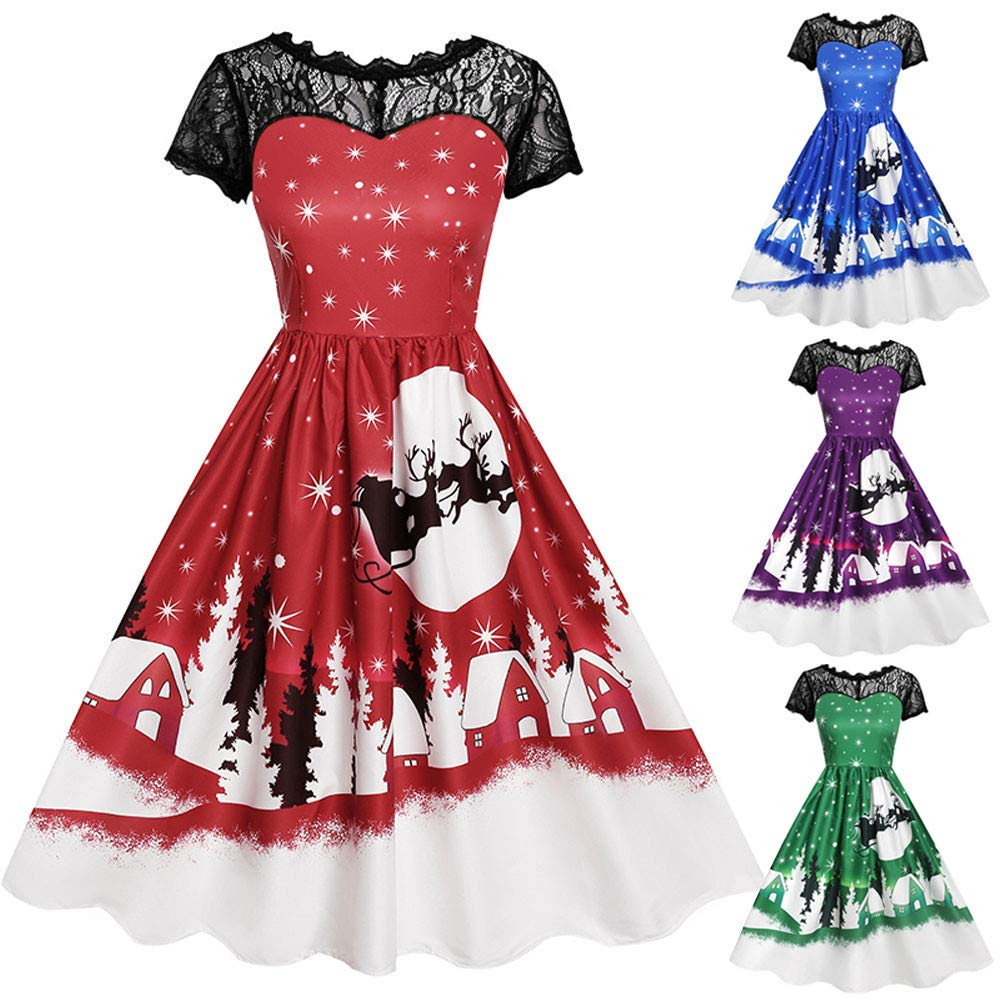 Women Dress Godathe Womens Vintage Lace Short Sleeve Print Christmas Party Swing Dress S-XXL at Amazon Womens Clothing store: