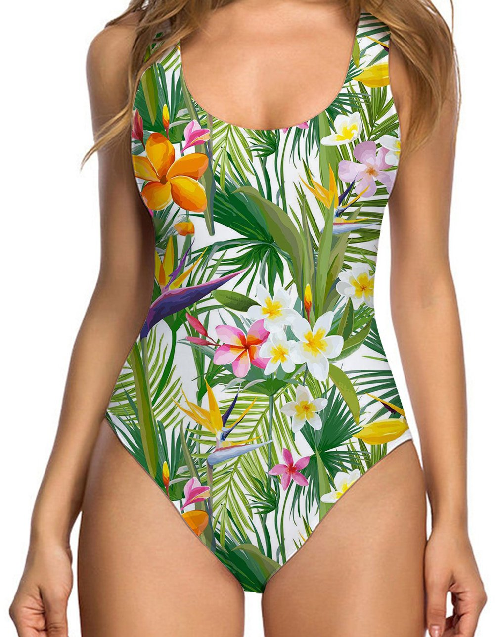 b4c4df03db21a Galleon - RAISEVERN Women's Tropical Floral Hawaii Cut One Piece Swimsuit  3D Cool Printed Colorful Pro Swimsuits Bathing Suit Swimwear