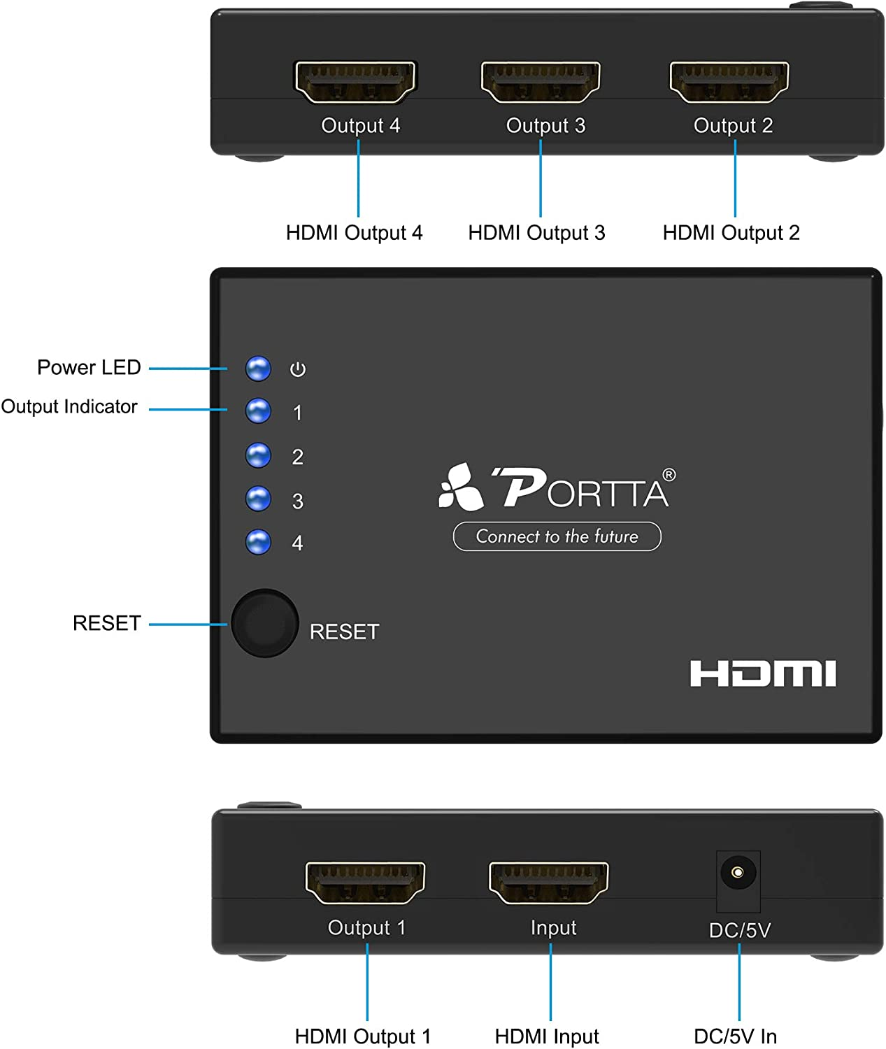 Portta HDMI Switch Splitter 4K HDMI Cable Splitter 1 in 4 Out Super Mini Splitter 4 Port 1x4 v1.4 with 340MHz and 4k x 2k Support Full 3D HD 1080P Uncompressed Compressed Audio for HDTV PC