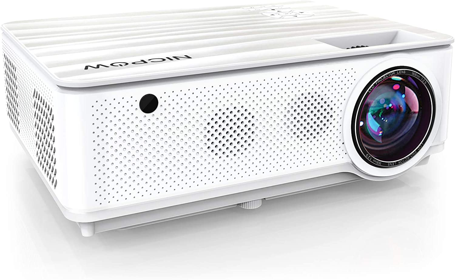 """Native 1080P Projector,NICPOW 7200L Full HD Video Projector,±40° 4D Keystone Correction,Outdoor Movie Projector with Max 300"""" Display&50% Zoom,Compatible with TV Stick, PS4, HDMI,VGA,AV and USB"""