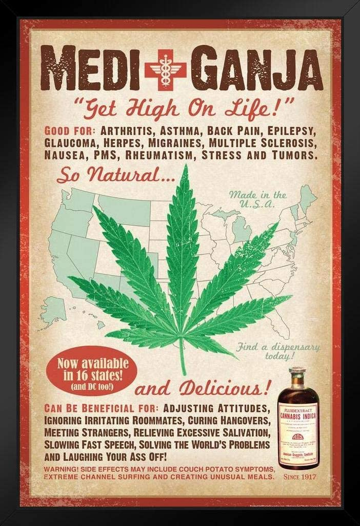 MediGanja Get High On Life Marijuana Funny Cool Huge Large Giant Poster Art 36x54