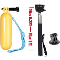 VVHOOY Action Camera Accessories Kit-Waterproof Floating Hand Grip and Strap with Extendable Selfie Stick Tripod Mount for Gopro Hero 6 5 3+ 4 Session 3