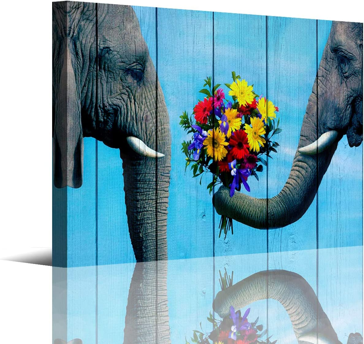 Bathroom Canvas Wall Art Artwork Animal Elephant Prints Wall Decor for Living Room Bedroom.The Elephant Sends Flowers to His Lover,Elephant on Wood Background,Stretched Ready to Hang,Size 12x16inches.