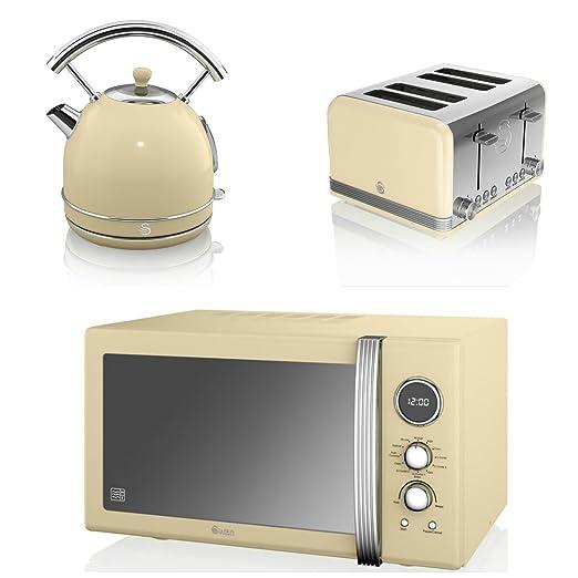 Swan - Juego de cocina aparato Retro crema 25L Digital ...